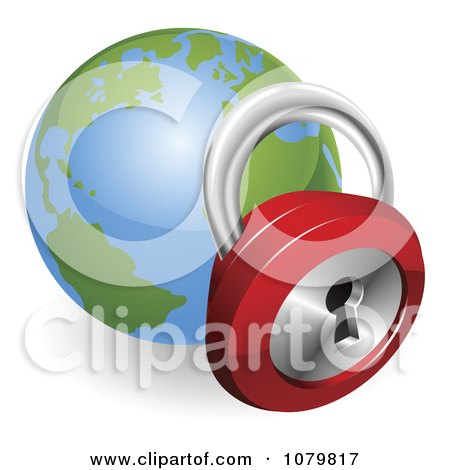 Clipart 3d Padlock And Globe Featuring The Atlantic - Royalty Free Vector Illustration by AtStockIllustration