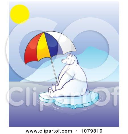 Clipart Hot Polar Bear Sitting Under A Parasol On Melting Ice - Royalty Free Vector Illustration by Paulo Resende