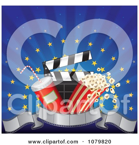 Clipart 3d Film Strip Banner With Popcorn Soda And A Clapper Over Blue Rays And Gold Stars - Royalty Free Vector Illustration by Paulo Resende