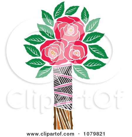 Clipart Three Red Roses In A Tribal Vase - Royalty Free Vector Illustration by Cherie Reve