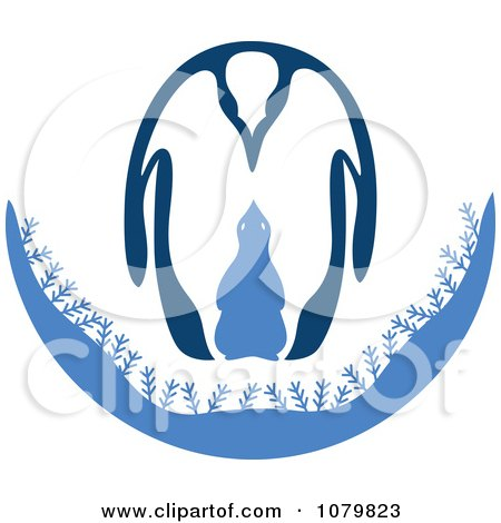 Clipart Adult And Baby Penguin In Blue - Royalty Free Vector Illustration by Cherie Reve