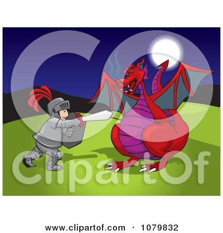 Clipart Knight Fending Off A Red Dragon - Royalty Free Vector Illustration by David Rey