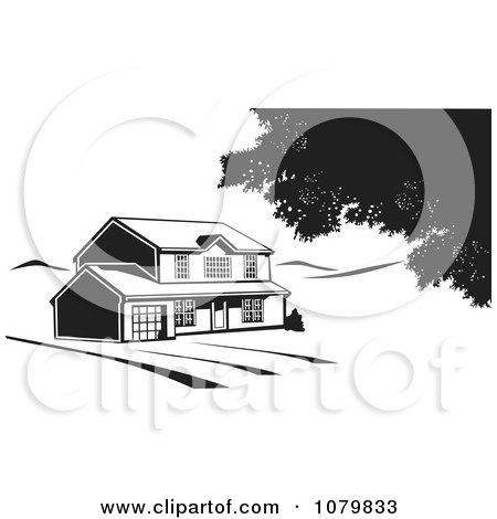 Clipart Black And White House On Acreage - Royalty Free Vector Illustration by David Rey