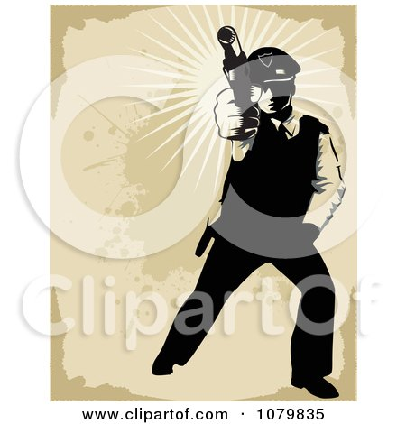 Clipart Shooting Security Guard Over Grungy Tan - Royalty Free Vector Illustration by David Rey