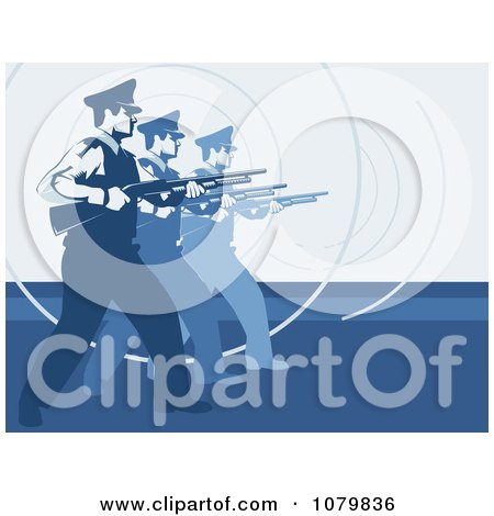 Clipart Security Guards In Training With Shot Guns On Blue - Royalty Free Vector Illustration by David Rey
