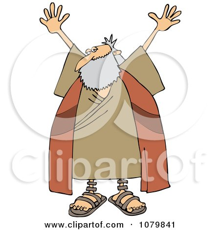 Clipart Moses Holding Up His Arms - Royalty Free Vector Illustration by djart