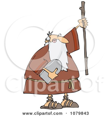 Clipart Moses Holding The Ten Commandments Tablet And Stick - Royalty Free Vector Illustration by djart