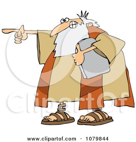 Clipart Moses Holding The Ten Commandments Tablet And Pointing - Royalty Free Vector Illustration by djart