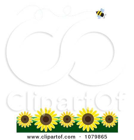Summer Border With A Flying Bee And Sunflowers On White Posters, Art Prints