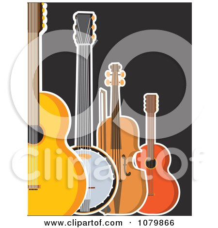 Clipart Guitar Banjo Violin And Ukulele On A Black Background - Royalty Free Vector Illustration by Maria Bell
