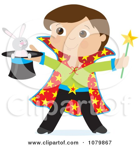 Clipart Magician Boy Holding A Rabbit In A Hat - Royalty Free Vector Illustration by Maria Bell