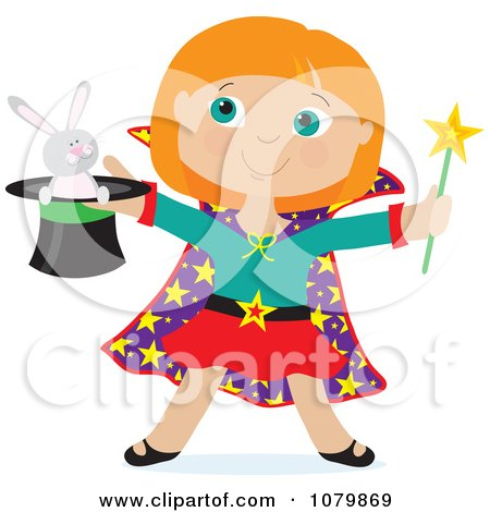 Clipart Magician Girl Holding A Rabbit In A Hat - Royalty Free Vector Illustration by Maria Bell