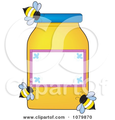 Clipart Three Bees Flying Around A Honey Jar With A Blank Label - Royalty Free Vector Illustration by Maria Bell