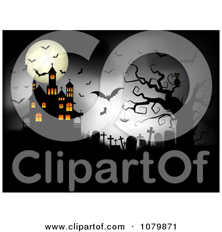 Clipart Dark Cemetery With A Cat Spider Bats Full Moon And Haunted House - Royalty Free Vector Illustration by KJ Pargeter