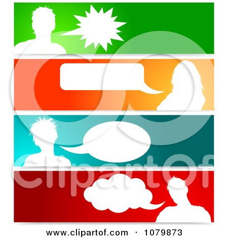 Clipart Silhouetted Talking Avatars With Copyspace On Colorful Banners - Royalty Free Vector Illustration by KJ Pargeter