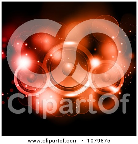 Clipart Red Sparkly Lights And Music Speakers On Black - Royalty Free Vector Illustration by KJ Pargeter