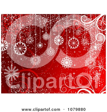 Clipart Christmas Background Of White Snowflake Baubles And Swirls On Red - Royalty Free Vector Illustration by KJ Pargeter
