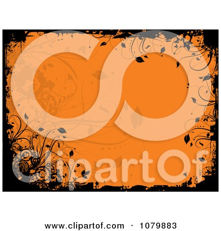 Clipart Orange Floral Grunge Background With Black Edges - Royalty Free Vector Illustration by KJ Pargeter