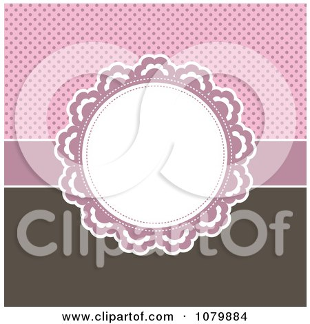 Clipart Circular Frame Over A Pink Polka Dot And Brown Background - Royalty Free Vector Illustration by KJ Pargeter