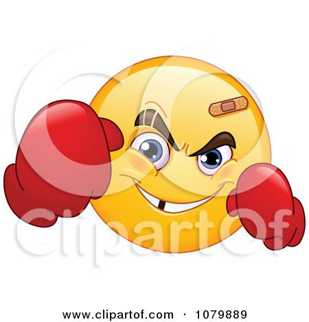 Clipart Yellow Emoticon Boxer Wearing Gloves - Royalty Free Vector Illustration by yayayoyo