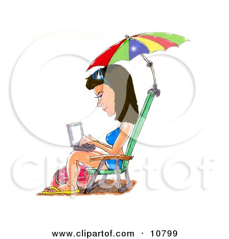 a Brunette Woman in a Blue Bikini, Sandals and Sunglasses, Seated in a Beach Chair Under an Umbrella, Typing on a Laptop Computer Posters, Art Prints