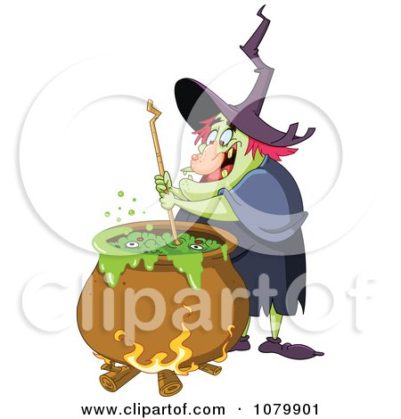 Ugly Witch Stirring Brew In A Cauldron Posters, Art Prints