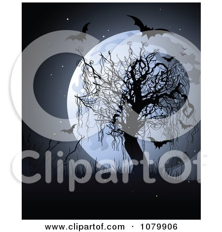 Clipart Full Moon Behind A Bare Tree With Weeds And Bats - Royalty Free Vector Illustration by Pushkin