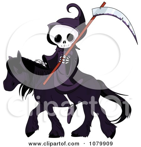 Clipart Grim Reaper With A Scythe On A Black Horse - Royalty Free Vector Illustration by Pushkin