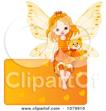 Clipart Cute Orange Fairy With A Teddy Bear On A Heart Sign - Royalty Free Vector Illustration by Pushkin