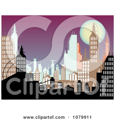 Clipart Background Of Urban Buildings At Dusk - Royalty Free Vector Illustration by mheld