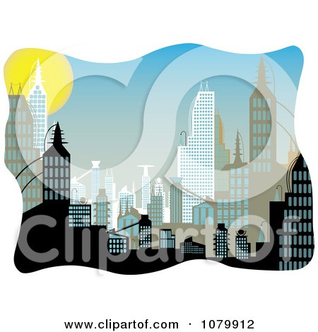 Clipart Background Of Urban Buildings During The Day - Royalty Free Vector Illustration by mheld