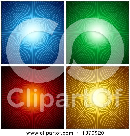 Clipart Blue Green Red And Orange Sunburst Backgrounds - Royalty Free Vector Illustration by dero