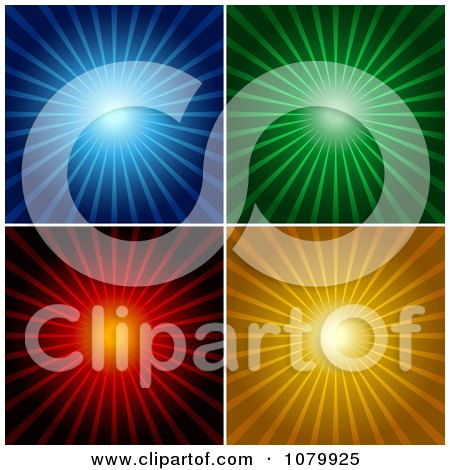 Clipart Blue Green Red And Orange Shining Ray Backgrounds - Royalty Free Vector Illustration by dero