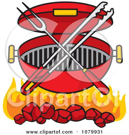 Clipart Charcoal Grill With Utensils And Flames - Royalty Free Vector Illustration by Any Vector