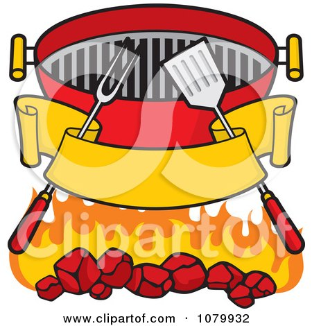 Clipart Blank Banner Charcoal Grill Utensils And Flames - Royalty Free Vector Illustration by Any Vector