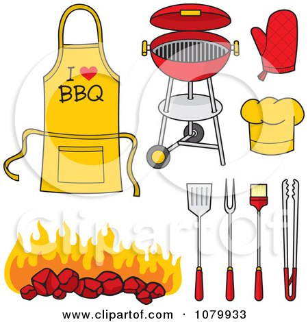Clipart BBQ Items - Royalty Free Vector Illustration by Any Vector