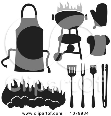 Clipart Black And White BBQ Items - Royalty Free Vector Illustration by Any Vector