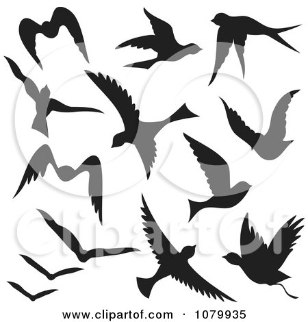 Clipart Silhouetted Black Flying Birds - Royalty Free Vector Illustration by Any Vector