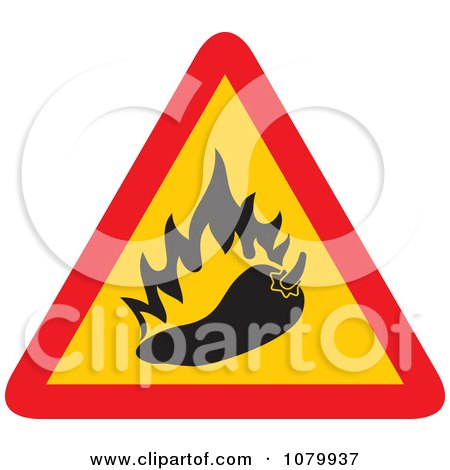 Clipart Spicy Hot Chili Pepper Warning Sign - Royalty Free Vector Illustration by Any Vector