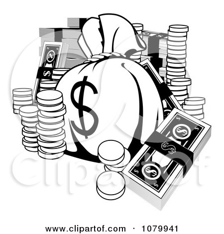 Clipart Black And White Money Bag With Cash And Coins - Royalty Free Vector Illustration by AtStockIllustration