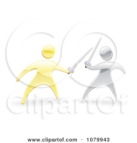 Clipart 3d Gold And Silver Men Fencing With Swords - Royalty Free Vector Illustration by AtStockIllustration