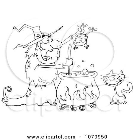 Clipart Outlined Cat Watching An Ugly Halloween Witch Holding A Frog Over A Cauldron - Royalty Free Vector Illustration by Hit Toon