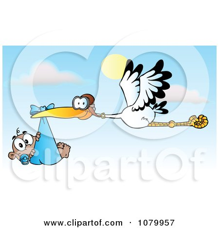 Clipart Baby Adoption Stork With A Black Child Against A Sky - Royalty Free Vector Illustration by Hit Toon