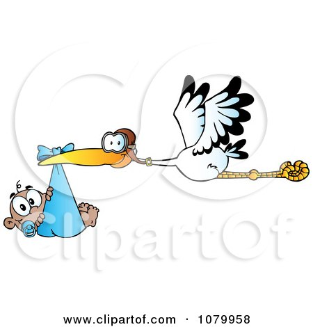 Clipart Baby Adoption Stork With A Black Child - Royalty Free Vector Illustration by Hit Toon