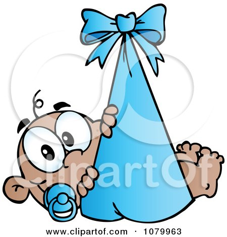 Clipart Black Baby In A Blue Bundle - Royalty Free Vector Illustration by Hit Toon