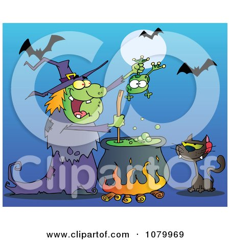 Clipart Cat Watching A Green Halloween Witch Holding A Frog Over A Cauldron - Royalty Free Vector Illustration by Hit Toon