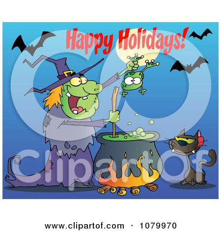 Clipart Happy Holidays Greeting Over A Green Halloween Witch Making A Potion - Royalty Free Vector Illustration by Hit Toon