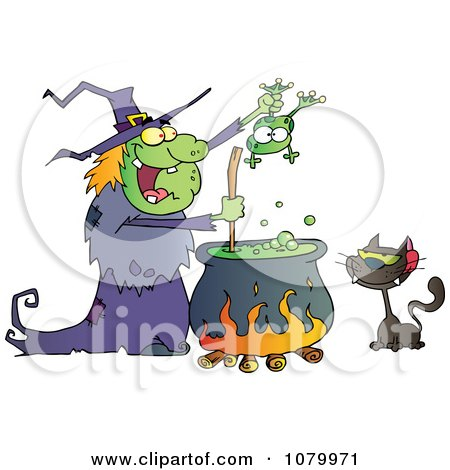 Clipart Cat Watching An Ugly Halloween Witch Holding A Frog Over A Cauldron - Royalty Free Vector Illustration by Hit Toon