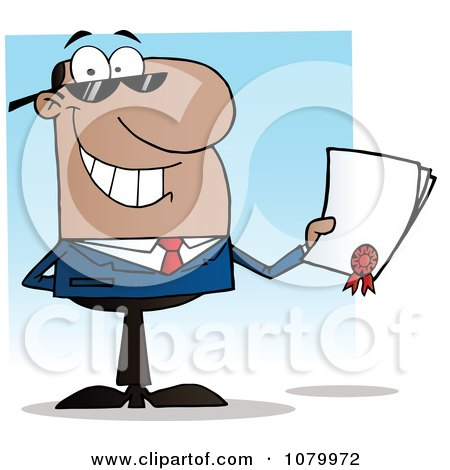 Clipart Black Salesman Holding A Contractual Agreement - Royalty Free Vector Illustration by Hit Toon