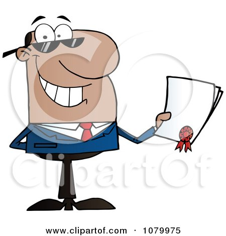 Clipart Black Businessman Holding A Contractual Agreement - Royalty Free Vector Illustration by Hit Toon